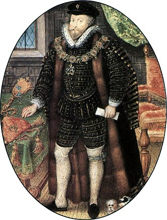 Christopher Hatton - Christopher Hatton as Lord Chancellor with his seal on the table by his side, by Nicholas Hilliard, 1588–1591