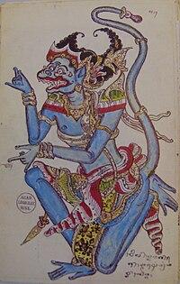 A Hanuman painting from Bali (1880)