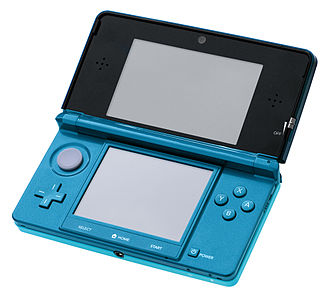 Nintendo 3DS family - An aqua blue Nintendo 3DS.