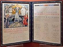 Certificato del Premio Nobel assegnato a Werner Forssman Andrè Cournand e Dickinson Richards