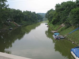 Nodaway River - Nodaway River just before the confluence with the Missouri River at Nodaway, Missouri
