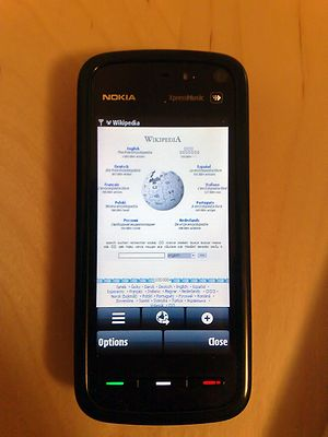 Nokia 5800 XpressMusic showing Wikipedia's mai...