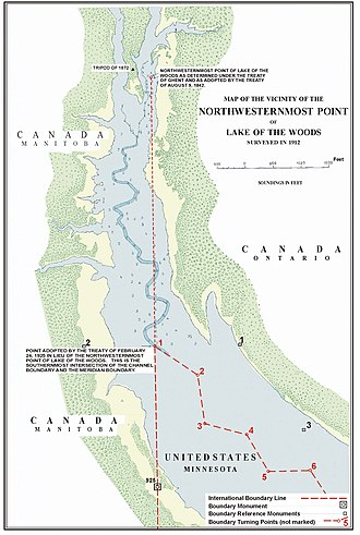 Northwestern point of the Lake of the Woods - Surveyors report (1912) of the northwesternmost point of Lake of the Woods