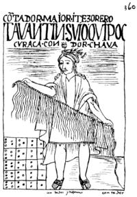 Dessin en noir et blanc.Un indien déployant une cordelette avec plusieurs lanières qui pendent