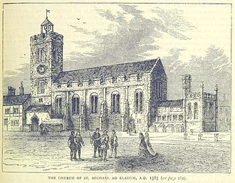 St Michael-le-Querne - The church in 1585