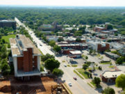 Boyd Street bisects Campus Corner, a stretch of shops and eateries lining the north border of the Norman Campus.