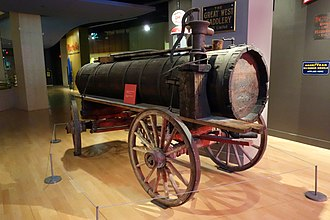 Glenbow Museum - An oil wagon used at the Turner Valley oilfields, c. 1920, on display at the Glenbow Museum.
