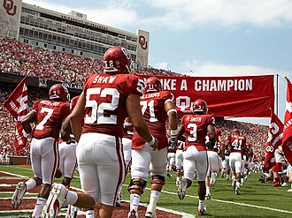 Norman, Oklahoma - OU takes the field at Oklahoma Memorial Stadium