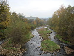 Olza River in the village