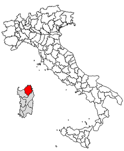 Location of Province of Olbia-Tempio