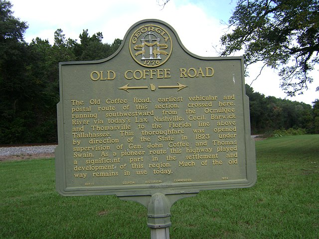 Old Coffee Rd Historical Marker just north of Cecil, Cook County, Georgia