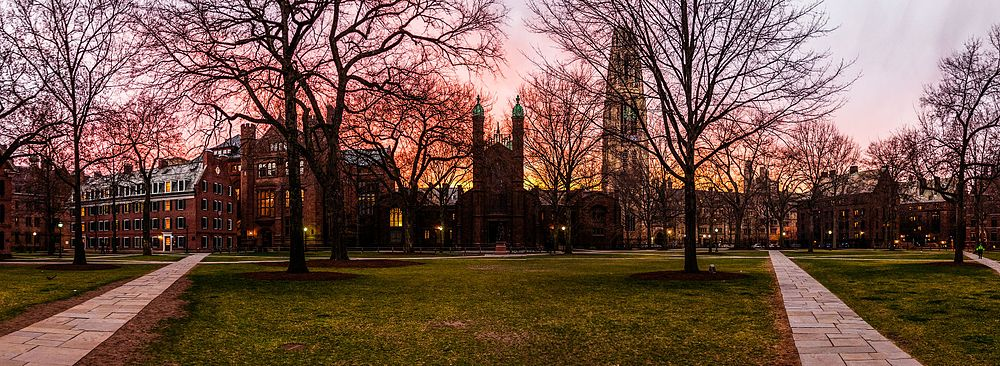 Yale's Old Campus at dusk, April 2013