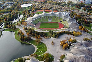 Tensile structure - The Olympiastadion in Munich makes extensive use of tensile roofing structures.