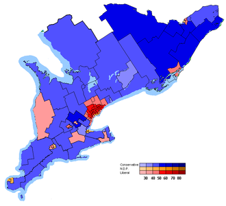 Politics of Ontario - Map of Southern Ontario with the ridings shaded based on how they voted in the 2006 federal election.