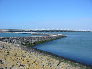 Coastal management - Oosterscheldekering sea wall, the Netherlands.