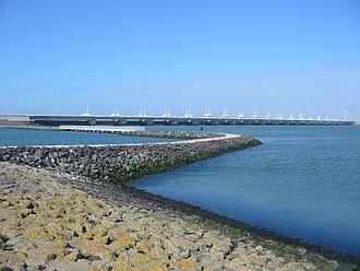 Coastal management - Oosterscheldekering sea wall, the Netherlands.