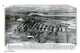 Вид на завод после взрыва, скан из журнала «Популярная механика», 1921