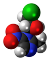 Ornidazole molecule spacefill.png