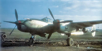 United States Air Forces Central Command - P-38 of the 370th Fighter Group on a wartime advanced landing strip