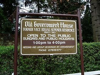 Old Government House, South Australia - Old Government House entrance sign.