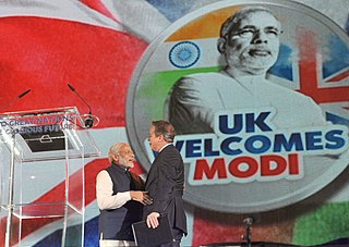 Indian Prime Minister Narendra Modi and Cameron at the Wembley Stadium, 13 November 2015