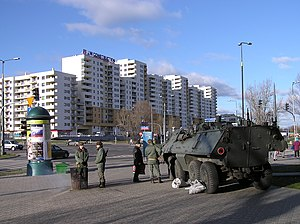 OT-64 SKOT - SKOT-1A during reconstruction of Martial law in Poland. Warsaw, 13.12.2007 (in memory of 13.12.1981)