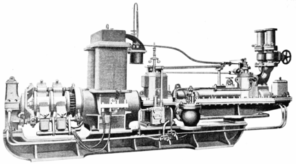 PSM V56 D0717 Parsons steam turbine linked directly to a dynamo.png