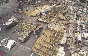 Pan Am Flight 103 bombing investigation - Wreckage laid out at Longtown