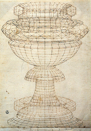 Mathematics and art - Study of a vase as a solid of revolution by Paolo Uccello. 15th century