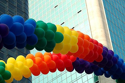 Decorative rainbow colored arches made of party balloons used at the gay pride parade in Sao Paulo, Brazil. Parada Gay em Sampa.jpg