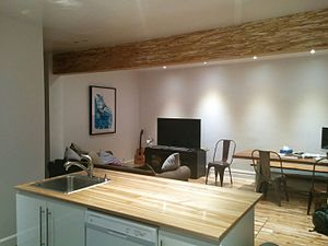 Beam (structure) - A beam of PSL lumber installed to replace a load-bearing wall