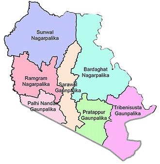 Pratappur, Nepal - map of parasi district showing pratappur