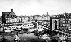Voguéo - Steam-driven paddle steamers on the Seine near the Pont Louis-Philippe, around 1840