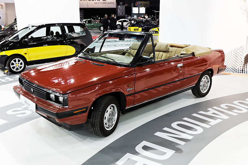 https://upload.wikimedia.org/wikipedia/commons/thumb/f/f0/Paris_-_Retromobile_2013_-_Renault_Alliance_cabriolet_-_1986_-_102.jpg/800px-Paris_-_Retromobile_2013_-_Renault_Alliance_cabriolet_-_1986_-_102.jpg