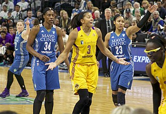 Candace Parker - Parker (center) and Essence Carson (far right), with Lindsay Whalen, Sylvia Fowles and Maya Moore of the Minnesota Lynx in 2016