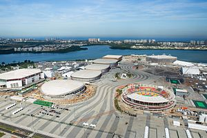 Venues of the 2016 Summer Olympics and Paralympics - The Velodrome, Carioca Arena 3, 2 and 1 and Future Arena (in the background), and the Olympic Tennis Centre (on the right) at Barra Olympic Park