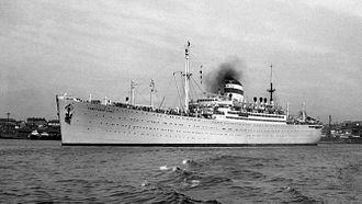 SS Albert Ballin - Soviet passenger cargo ship Sovetskiy Soyuz in the Soviet Union (Golden Horn Bay, Vladivostok) in 1957