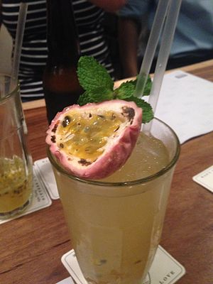 Passiflora edulis - A passionfruit drink at a restaurant in Singapore