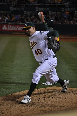 Pat Neshek - Neshek warming up for the A's.