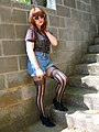 Patterned Blouse, Denim Shorts, Faux Garter Tights and Ankle Boots.jpg