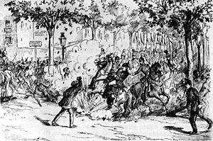 lustración de un periódico de la época sobre el atentado de Paulino Pallás
