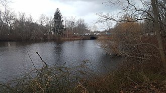 Peconic River - The Peconic River near its mouth in Riverhead, New York