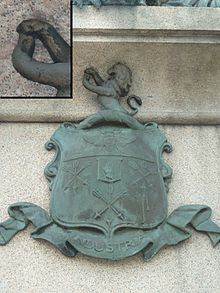 Peel coat of arms, taken from Robert Peel statue in Bury.