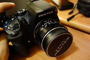 Pentax K-30 - Image: Pentax K 30 with a Super Takumar 50 mm f 1.4 lens (angled view)
