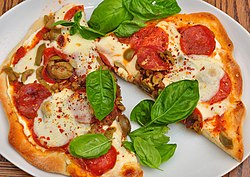 Pepperoni pizza with basil.jpg