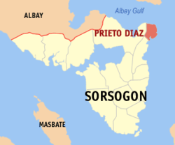 Map of Sorsogon with Prieto Diaz highlighted