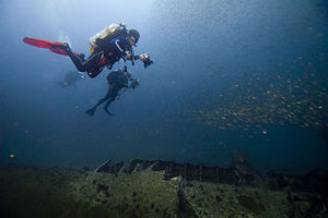 German submarine U-352 - Wreck diving on the U-352 in 2008.