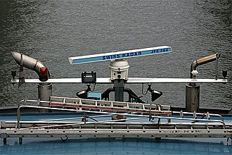 Marine radar - Typical marine radar antenna on the stern of a small boat. It rotates on a vertical axis, scanning 360° of azimuth about every 2 seconds. It radiates a narrow vertical fan-shaped beam of microwaves horizontally toward the horizon, perpendicular to the long axis of the antenna.