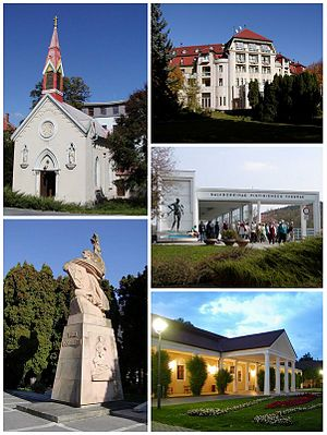 Piešťany - Sights of Piešťany, Top left:Chapel of the Sacred Heart of Jesus (Kaplnka Božského Srdca Ježišovho), Top right:Thermia Palace, Bottom left:Monument of Thanks Liberators (Vďaka osloboditeľom), Bottom upper right:Colonnade Bridge, Bottom lower right:Napoleon's Spa Resort