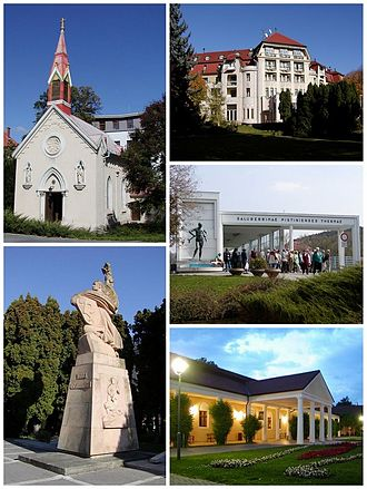 Piešťany - Sights of Piešťany. Top left: Chapel of the Sacred Heart of Jesus (Kaplnka Božského Srdca Ježišovho). Top right: Thermia Palace. Bottom left: Monument Thanks to the Liberators (Vďaka osloboditeľom). Bottom upper right: Colonnade Bridge. Bottom lower right: Napoleon's Spa Resort.